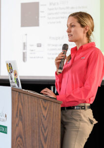 Dr. Marilyn Connor speaking at a Lunch & Learn during the 2018 Winter Equestrian Festival. Photo by Jump Media