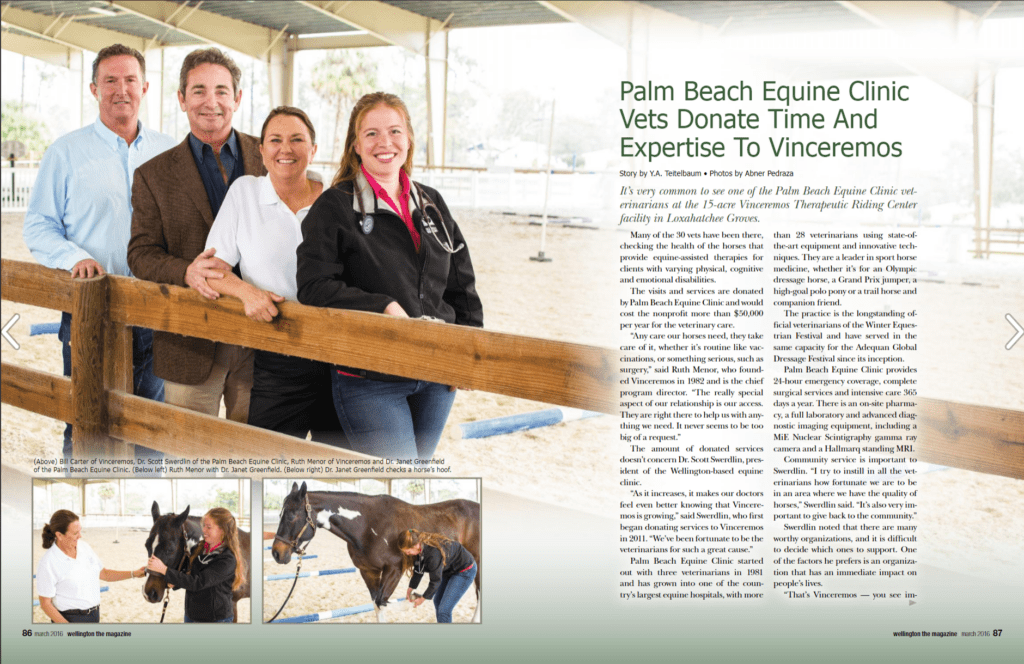 Wellington Dressage Magazine March 2016 Palm Beach Equine Clinic Vinceremos Therapeutic Center